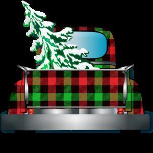 truck, christmas tree, buffalo plaid