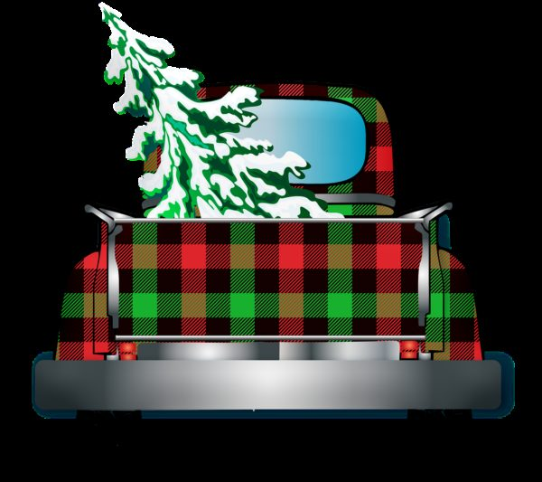 truck, christmas tree, buffalo plaid